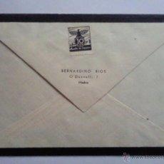Sellos: SOBRE Y CARTA, ENVIADO EL 30-5-1939 DE MADRID A VALLADOLID, CON SELLO AUXILIO DE INVIERNO 10 CTS. Lote 45734472