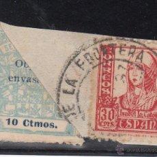 Sellos: ,,LOCAL NACIONALISTA CADIZ B121 BISECTADO FRAG. CON 823 USADA CORREOS, . Lote 45971507