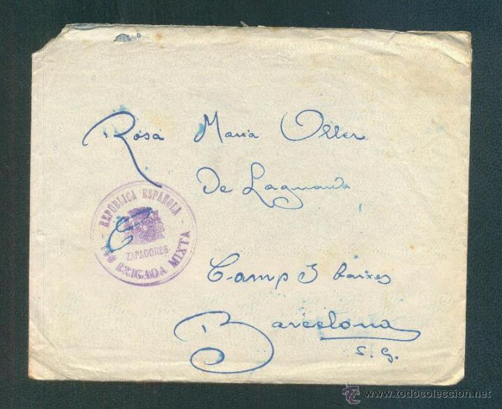 DESDE EL FRENTE A BARCELONA (Sellos - España - Guerra Civil - De 1.936 a 1.939 - Cartas)