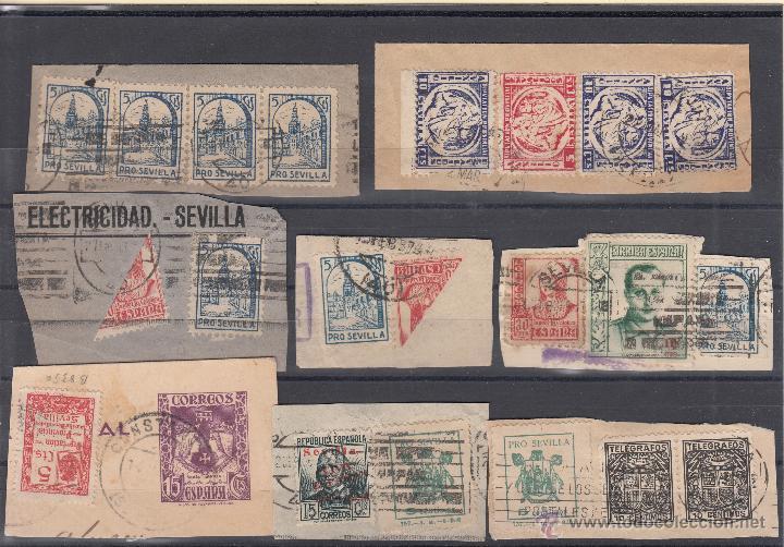 ,LOTE LOCAL SEVILLA BISECTADO FALANGE TELEGRAFOS PATRIOTICO DE 8 FRAGMENTOS, DIVERSAS CALIDADES (Sellos - España - Guerra Civil - Locales - Usados)