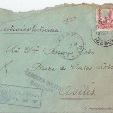 Sellos: SOBRE DE PADRÓN. CORUÑA A AVILÉS. ASTURIAS. VIVA CRISTO REY. CENSURA DE SANTIAGO. 1937. Lote 46087772