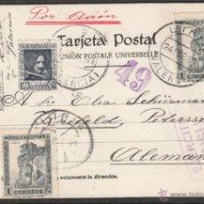 Sellos: TARJETA POSTAL DE 1939 DESDE LIRIA VALENCIA REPUBLICA A LA ALEMANIA NAZI DEL III REICH CURIOSIDAD. Lote 46156395