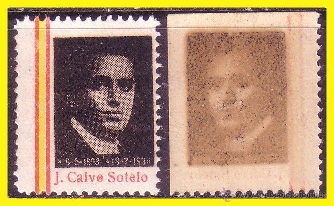 CALVO SOTELO, VARIEDAD, COLOR NEGRO, CALCADO POR EL REVERSO * (Sellos - España - Guerra Civil - Viñetas - Nuevos)
