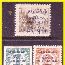 Sellos: CANARIAS 1937, EDIFIL Nº 11 A 13 * SERIE COMPLETA. Lote 46164554