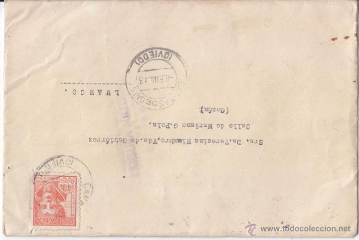 SOBRE A CANGAS DE ONÍS. ASTURIAS. EDIFIL 955. CENSURA MILITAR DE OVIEDO. 1943. (Sellos - España - Guerra Civil - De 1.936 a 1.939 - Cartas)