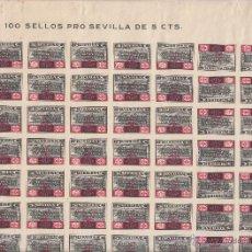 Sellos: ,,LOCAL NACIONALISTA SEVILLA 680 PLIEGO DE 100 SELLOS SIN CHARNELA, CON TODAS LAS VARIEDADES +. Lote 46243113