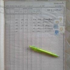 Sellos: GRAN LIBRO LLENO DE + 120 SELLOS FISCALES VARIOS TIPOS Y VALORES,AÑO 1943,DESTACANDO LOS FISCALES DE. Lote 46326541