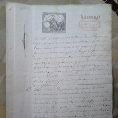 Sellos: B49B-SELLOS FISCALES PAPEL SELLADO Y RESELLO HABILITADO IMPUESTO GUERRA 1882.SELLOS FISCALES SOBRE D. Lote 46328645