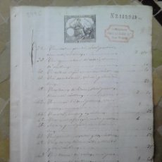 Sellos: B49C-SELLOS FISCALES PAPEL SELLADO Y RESELLO HABILITADO IMPUESTO GUERRA 1882.SELLOS FISCALES SOBRE D. Lote 46328654