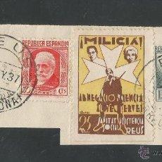 Sellos: VIÑETAS CIRCULADA - MILICIA REUS - (V-1544). Lote 46422126