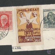 Sellos: VIÑETAS CIRCULADA - MILICIA REUS - (V-1545). Lote 46422137