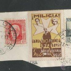 Sellos: VIÑETAS CIRCULADA - MILICIA REUS - (V-1546). Lote 46422193