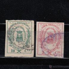 Sellos: PONTEVEDRA. SUBSIDIO PRO-COMBATIENTES. DOS SELLOS DE 5 Y 10 CTS.. Lote 46453280