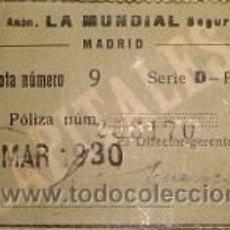 Sellos: RARA CUOTA DE 15 PESETAS DE LA SOCIEDAD LA MUNDIAL MADRID 1930. Lote 46515061