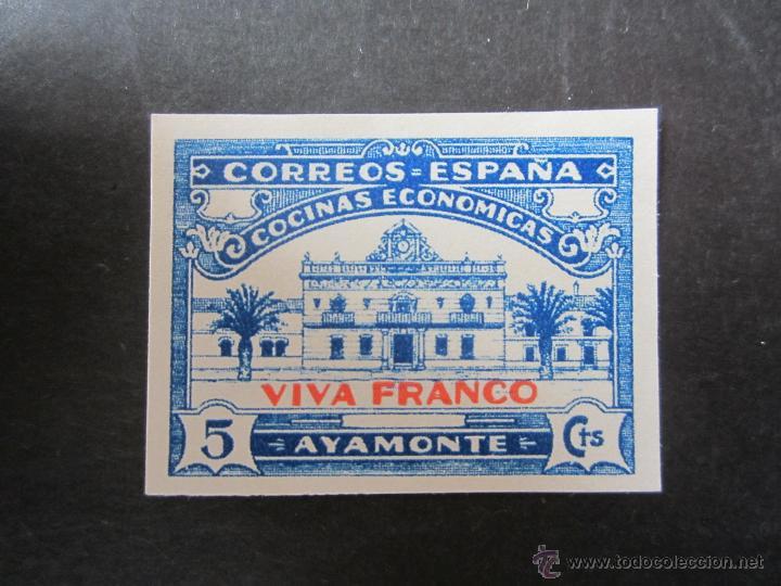 SELLO DE LA GUERRA CIVIL ESPAÑOLA. PRO COCINAS ECONOMICAS DE AYAMONTE. RESELLADO VIVA FRANCO (Sellos - España - Guerra Civil - Beneficencia)