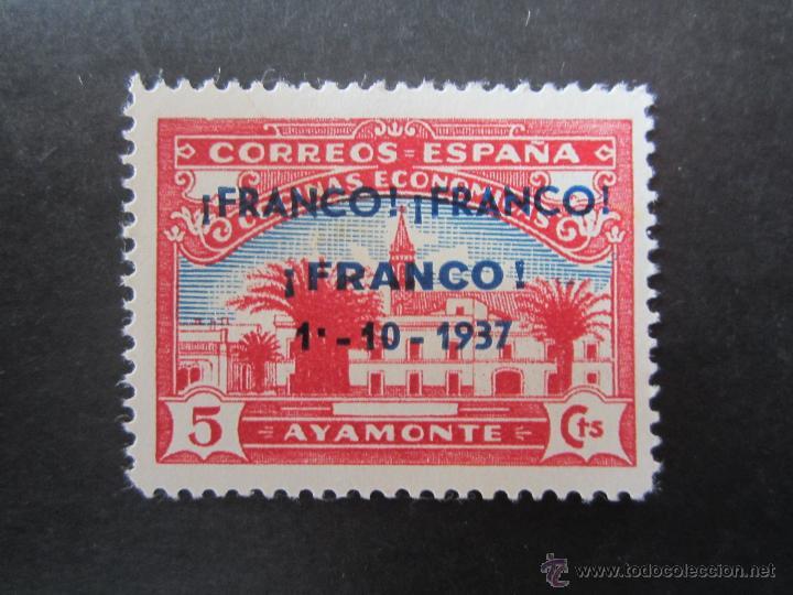 SELLO DE LA GUERRA CIVIL ESPAÑOLA. PRO COCINAS ECONOMICAS DE AYAMONTE. RESELLADO FRANCO 1-10-1937 (Sellos - España - Guerra Civil - Beneficencia)