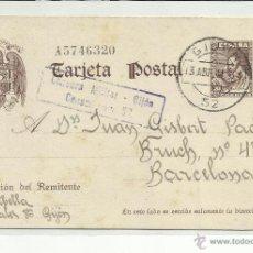 Sellos: CIRCULADA ESCRITA 1941 DE GIJON A BARCELONA CON CENSURA MILITAR . Lote 46679594