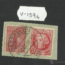 Sellos: VIÑETA - FRENTE POPULAR CASTELLON 10 CTS Y REPUBLICA ESPAÑOLA 30 CTS - (V-1596). Lote 46681072