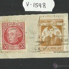 Sellos: VIÑETA -REPUBLICA ESPAÑOLA 30 CTS Y JUNTA PROV DE SOCORROS ALICANTE MILICIAS POPULARES 5 CTS(V-1598). Lote 46681196