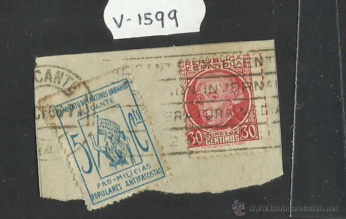 VIÑETA - SINDICATO CARTEROS URBANOS PRO MILICIAS 5CTS ANTIFASCISTAS Y REPUBLICA ESPAÑOLA 30CTS(V1599 (Sellos - España - Guerra Civil - Viñetas - Usados)