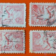 Sellos: 4 SELLOS - CORRESPONDENCIA URGENTE - 25 CENTIMOS - PEGASO - 1939 - 1941. Lote 46685734