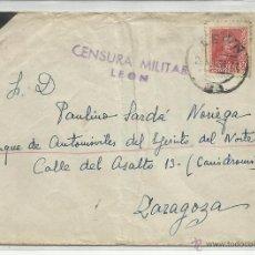 Sellos: CIRCULADA 1938 DE LEON A EJERCITO DEL NORTE ZARAGOZA CON CENSURA MILITAR . Lote 46775728