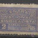 Sellos: 204A -SELLO CUOTA VIÑETA ESPAÑA GUERRA CIVIL FALANGE BARCELONA CNS.CENTRAL NACIONAL SINDICALISTA,SI. Lote 46789136
