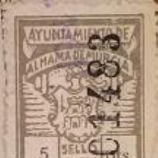 Sellos: RARISIMO SELLO FISCAL MUNICIPAL DE 5 PESETAS DE ALHAMA DE MURCIA. Lote 46882987