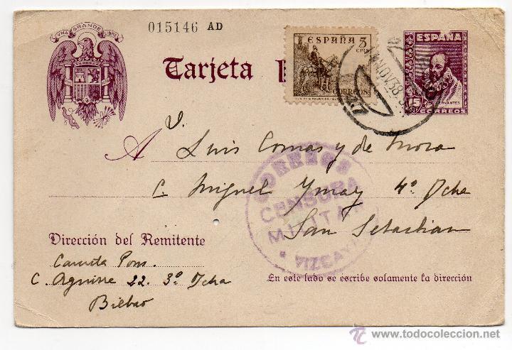 TARJETA POSTAL PATRIÓTICA AÑO 1938 CON SELLO CORREOS CENSURA MILITAR VIZCAYA (Sellos - España - Guerra Civil - De 1.936 a 1.939 - Cartas)