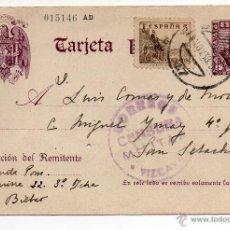 Sellos: TARJETA POSTAL PATRIÓTICA AÑO 1938 CON SELLO CORREOS CENSURA MILITAR VIZCAYA . Lote 47123602