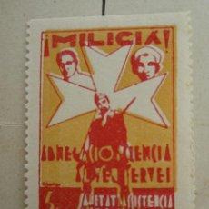 Sellos: MILICIA . SANITAT ASISTENCIA SOCIAL , 5 CENTIMOS REUS. Lote 47244544