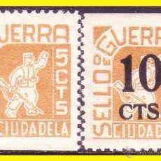 Sellos: GUERRA CIVIL, BALEARES CIUDADELA, FESOFI Nº 12 Y 13 * . Lote 47323688