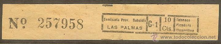 FISCALES. LAS PALMAS. IMPUESTO SOBRE EL TABACO. SUBSIDIOS 1936/39 (Sellos - España - Guerra Civil - De 1.936 a 1.939 - Usados)