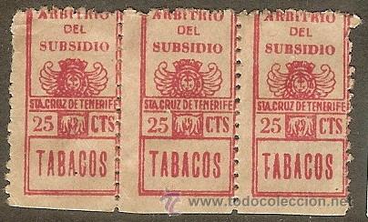 FISCALES. TENERIFE. IMPUESTO TABACO. ARBITRIO DEL SUBSIDIO 1936 (Sellos - España - Guerra Civil - De 1.936 a 1.939 - Usados)