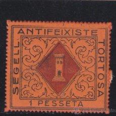 Sellos: TORTOSA ( TARRAGONA ) ANTIFEIXISTE 1 PESETA AÑO 1937 NUEVO ** VIÑETA / LOCAL GUERRA CIVIL. Lote 48115581
