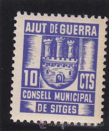 SITGES ( BARCELONA ) AJUT DE GUERRA CONSELL MUNICIPAL 10 CTS NUEVO ** VIÑETA / LOCAL GUERRA CIVIL (Sellos - España - Guerra Civil - Locales - Nuevos)