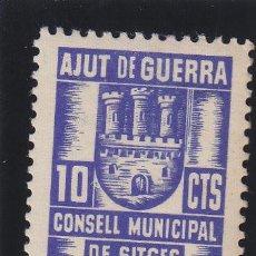 Sellos: SITGES ( BARCELONA ) AJUT DE GUERRA CONSELL MUNICIPAL 10 CTS NUEVO ** VIÑETA / LOCAL GUERRA CIVIL. Lote 48130995