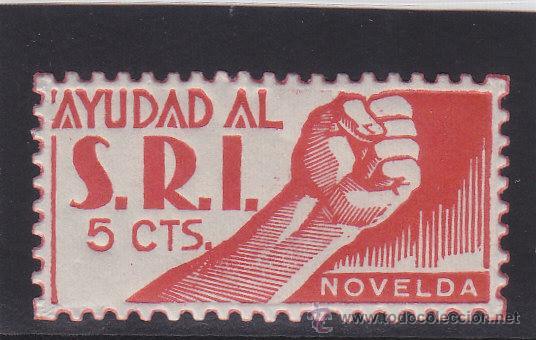 NOVELDA ( ALICANTE ) AYUDAD AL S.R.I./ SOCORRO ROJO INT 5 CTS NUEVO *** VIÑETA / LOCAL GUERRA CIVIL (Sellos - España - Guerra Civil - Locales - Nuevos)