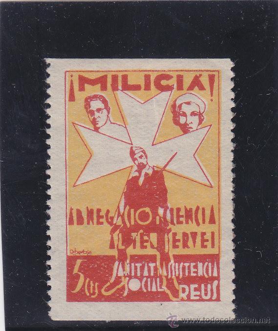 REUS ( TARRAGONA ) MILICIA ASISTENCIA SOCIAL 5 CTS NUEVO * VIÑETA / LOCAL GUERRA CIVIL (Sellos - España - Guerra Civil - Locales - Nuevos)