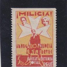 Sellos: REUS ( TARRAGONA ) MILICIA ASISTENCIA SOCIAL 5 CTS NUEVO * VIÑETA / LOCAL GUERRA CIVIL. Lote 48132607