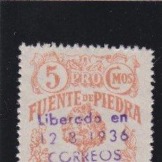 Sellos: FUENTE DE PIEDRA ( MALAGA) PRO BENEFICENCIA CON SOBRECARGA 5 CTS NUEVO VIÑETA / LOCAL GUERRA CIVIL. Lote 48162654
