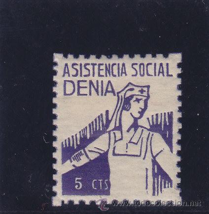 DENIA ( ALICANTE ) ASISTENCIA SOCIAL 5 CTS NUEVO * VIÑETA / LOCAL GUERRA CIVIL (Sellos - España - Guerra Civil - Locales - Nuevos)