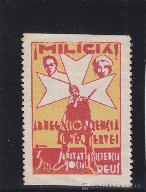 REUS ( TARRAGONA ) MILICIA ASISTENCIA SOCIAL 5 CTS NUEVO (*) VIÑETA / LOCAL GUERRA CIVIL (Sellos - España - Guerra Civil - Locales - Nuevos)