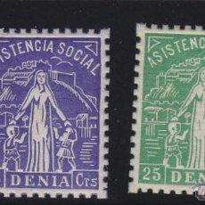 Sellos: DENIA ( ALICANTE ) 2 SELLOS ASISTENCIA SOCIAL 5 , 25 CTS . NUEVO ** VIÑETA / LOCAL GUERRA CIVIL .. Lote 48262304