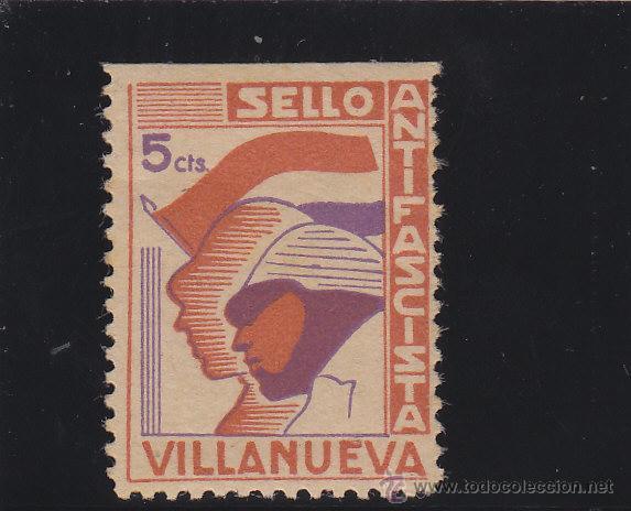 VILLANUEVA ( JAÉN ) SELLO ANTIFASCISTA 10 CTS NUEVO * VIÑETA / LOCAL GUERRA CIVIL (Sellos - España - Guerra Civil - De 1.936 a 1.939 - Nuevos)