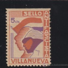 Sellos: VILLANUEVA ( JAÉN ) SELLO ANTIFASCISTA 10 CTS NUEVO * VIÑETA / LOCAL GUERRA CIVIL. Lote 48263967