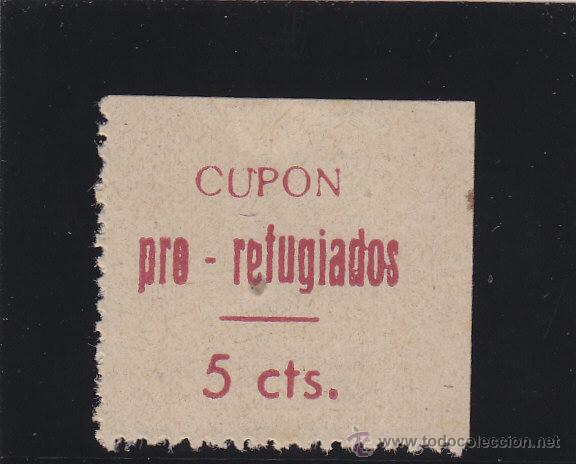 LORCA ( MURCIA ) CUPON PRO REFUGIADOS . 5 CTS NUEVO * VIÑETA / LOCAL GUERRA CIVIL (Sellos - España - Guerra Civil - De 1.936 a 1.939 - Nuevos)