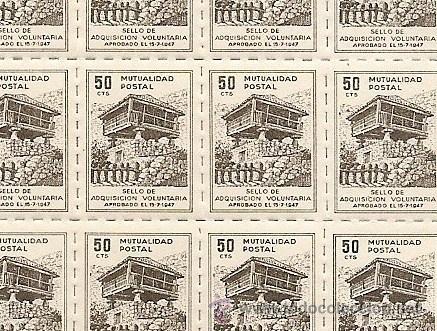 Sellos: HOJA COMPLETA DE 100 VIÑETAS MUTUALIDAD BENEFICA DE CORREOS VALOR SELLO 50 CÉNTIMO - MUY BUEN ESTADO - Foto 2 - 48297753