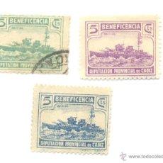 Sellos: 1936 BARCO DESTRUCTOR MARINA DIPUTACIÓN PROVINCIAL DE CÁDIZ TRES SELLOS DISTINTOS.. Lote 48400754