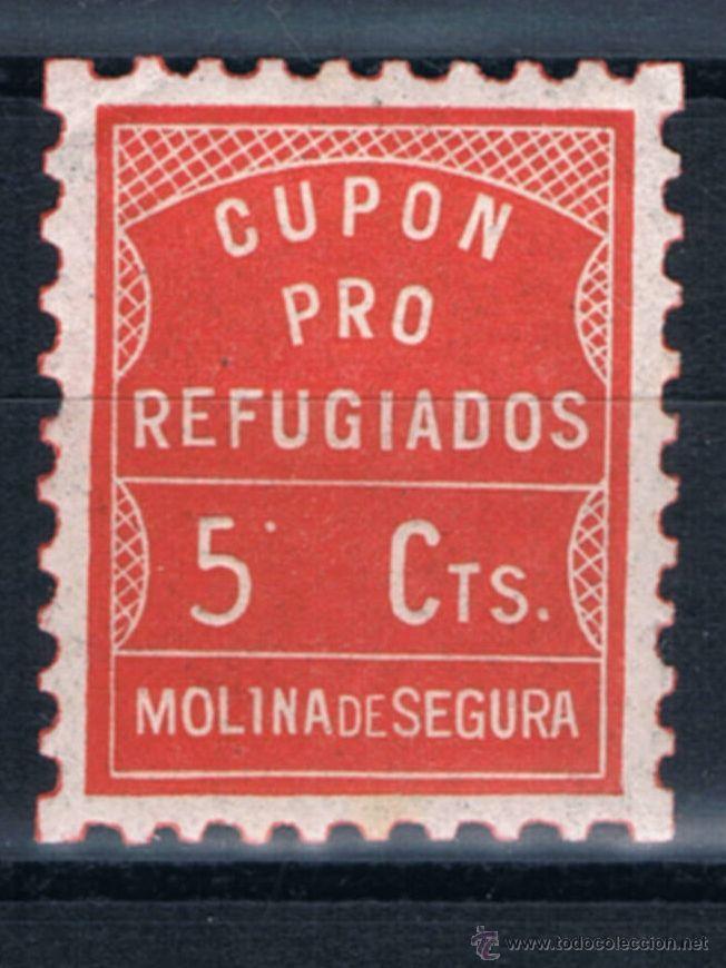 CUPON PRO REFUGIADOS MOLINA DE SEGURA 5 CTS. GUERRA CIVIL SELLO LOCAL SOFIMA 1 (Sellos - España - Guerra Civil - De 1.936 a 1.939 - Nuevos)